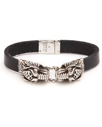Gucci - Tiger-head Leather Bracelet - Lyst