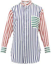 CHARLES JEFFREY LOVERBOY - バンドカラー ストライプコットンシャツ - Lyst