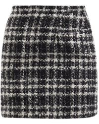 Alessandra Rich チェック ウールブレンドツイード ミニスカート - ブラック