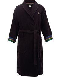 Paul Smith Zebra Terry-cloth Cotton Towel Robe - Black
