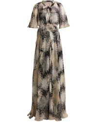 N°21 Chrysanthemum Print Silk Chiffon Maxi Dress - Black
