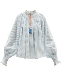 Thierry Colson Vladia Smocked Cotton-voile Blouse - Blue