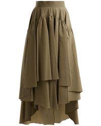 Brunello Cucinelli - Layered Cotton-blend Midi Skirt - Lyst