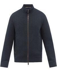 Giorgio Armani スタンドネック シェブロンツイルジャケット - ブルー