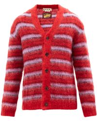 Marni Striped Mohair-blend Cardigan - Red