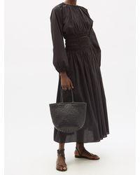 Matteau Shirred Organic-cotton Poplin Maxi Skirt - Black