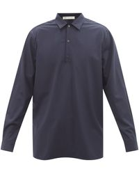 Umit Benan B+ Point-collar Virgin-wool Poplin Shirt - Blue