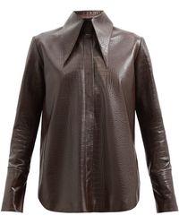 16Arlington Seymour Crocodile-effect Leather Shirt - Brown