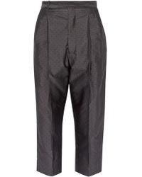 Haider Ackermann Polka Dot Jacquard Silk Blend Pants - Gray