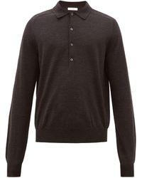 The Row Dylan ロングスリーブ ウールポロシャツ - ブラック
