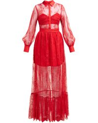 Self-Portrait Robe en dentelle de Chantilly fleurie - Rouge