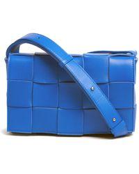 Bottega Veneta Cassette Small Intrecciato-leather Cross-body Bag - Blue