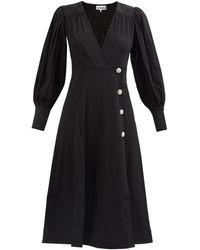 Ganni クリスタルボタン パフスリーブ クレープドレス - ブラック