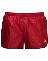 Gucci Gg Bee Appliqué Swimshorts - Red