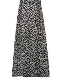 Dolce & Gabbana Leopard-brocade Crystal-button Midi Skirt - Multicolour