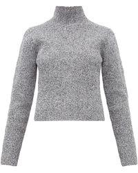 Tibi Zip Through High Neck Ribbed Sweater - Gray