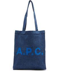 A.P.C. ルー ロゴ デニムトートバッグ - ブルー