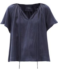 Loup Charmant Paloma Tie-neck Hammered-silk Blouse - Blue