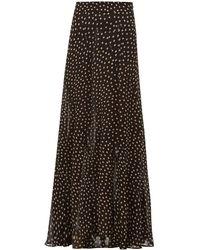 Ganni Polka-dot Georgette Maxi Skirt - Black