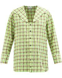 Ganni セーラーカラー チェック コットンブレンドシャツ - グリーン