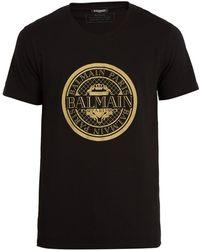 Balmain - Circular Logo-print Cotton T-shirt - Lyst
