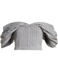 Jonathan Simkhai - Off The Shoulder Gingham Cropped Top - Lyst