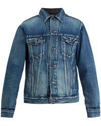 Balenciaga Contrast Panel Denim Jacket - Blue