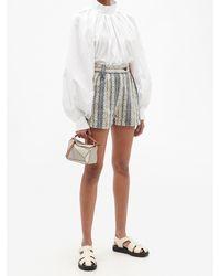 Loewe High-rise Logo-jacquard Stripe Cotton Shorts - Blue