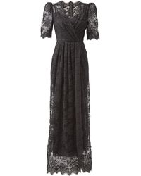 Dolce & Gabbana パフスリーブ コットンブレンドシャンティリーレースドレス - ブラック
