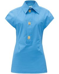 Bottega Veneta Buttoned Coated-canvas Shirt - Blue