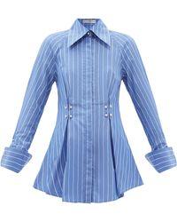 Palmer//Harding Palmer//harding テンダーネス プリーツ ストライプコットンシャツ - ブルー