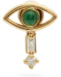 Ileana Makri Evil Eye Diamond, Emerald & 18kt Gold Earring - Metallic