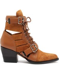 Chloé Rylee Cut-out Suede Ankle Boots - Brown