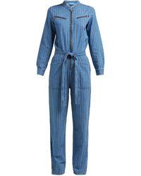 M.i.h Jeans Combinaison en chambray de coton rayé Margot - Bleu