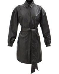 Alexandre Vauthier ボタンダウンカラー レザーミニラップドレス - ブラック