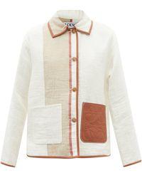 Loewe レザートリム リネンコットンツイルジャケット - ホワイト