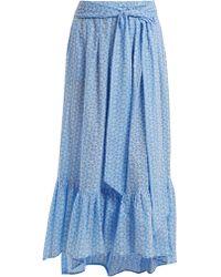 Lisa Marie Fernandez - Floral Embroidered Cotton Skirt - Lyst