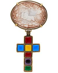 Gucci Horse And Cross Brooch - Multicolour