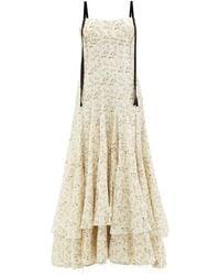 Brock Collection テリー フローラル リネンコットンボイルドレス - ホワイト