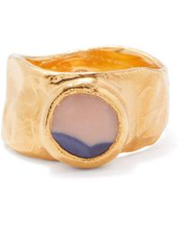 Nick Fouquet Tarziano Stone-slice Gold-plated Signet Ring - Metallic