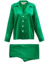 BERNADETTE Louis Silk-blend Satin Pyjamas - Green