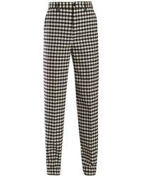 Balenciaga Gingham Wool Pants - Black