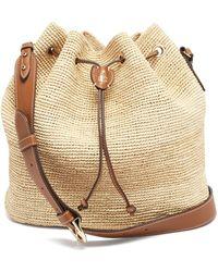 Mark Cross Joni Leather-trimmed Raffia Bucket Bag - Red