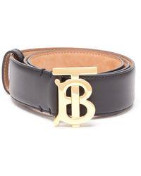 Burberry Tb Logo-plaque Leather Belt - Black