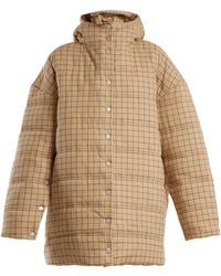 Awake - Checked Funnel-neck Quilted Cotton Coat - Lyst