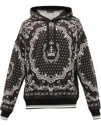 Dolce & Gabbana Sweat-shirt à capuche en coton à imprimé bandana - Noir