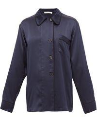 Araks Kate Silk-charmeuse Pajama Shirt - Blue