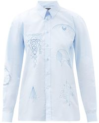 Raf Simons Ss03 エンブロイダリー コットンポプリンシャツ - ブルー