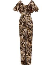 Rasario パフスリーブ タイガー クレープドレス - マルチカラー