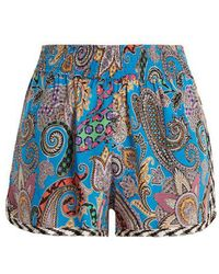 Etro - Graphic Paisley-print Silk-crepe Shorts - Lyst